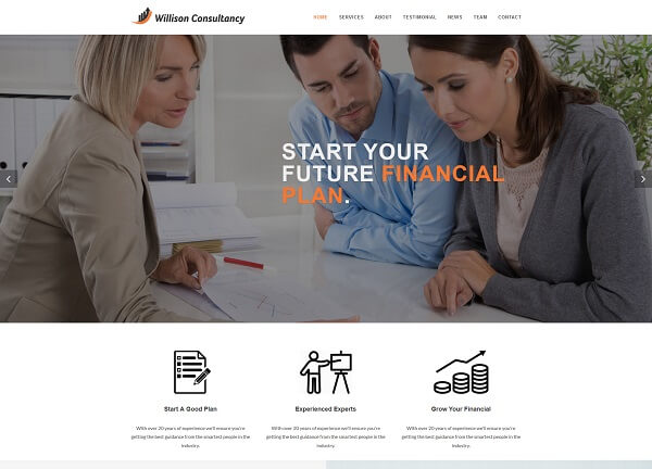 finance consulting website design